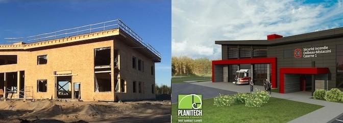 Inauguration d'une caserne en bois à Dolbeau-Mistassini