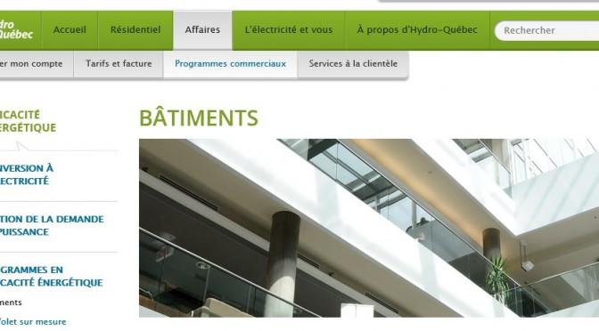 Programmes pour la construction de bâtiments durables d'Hydro-Québec