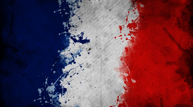 Flag of France, image is overlaying a grungy texture.