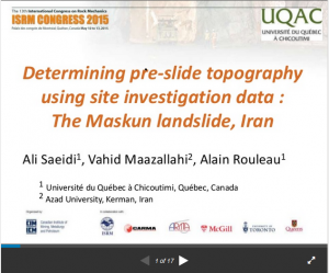 Determining pre-slide topography using site investigation data The Maskun landslide, Iran
