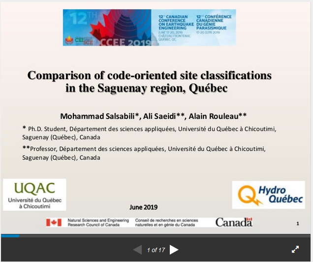 Comparison of code-oriented site classifications in the Saguenay region, Québec
