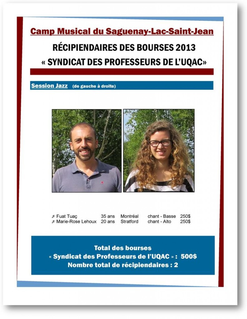 Bourse Camp Musical du Saguenay-Lac-Saint-Jean 2012-2013