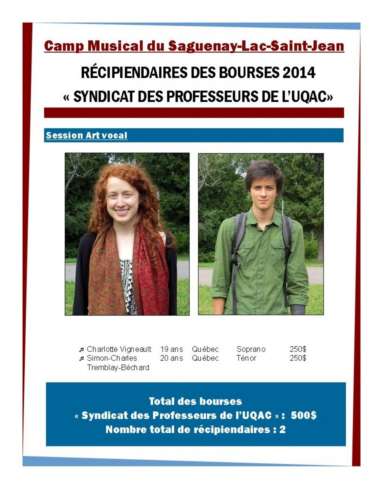 Bourse Camp Musical du Saguenay-Lac-Saint-Jean 2013-2014