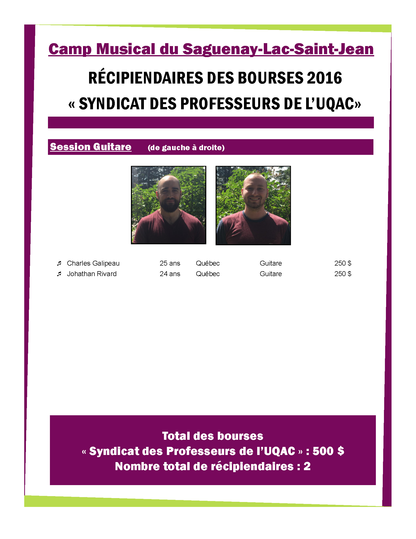 Bourse Camp Musical du Saguenay-Lac-Saint-Jean 2015-2016